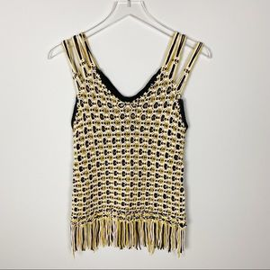 Edun crocheted yellow and black knitted tank top